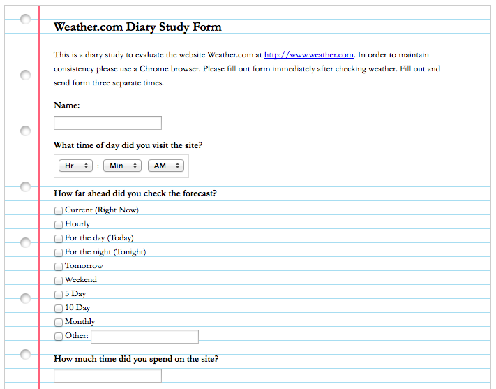 Weather.com Diary Study Form