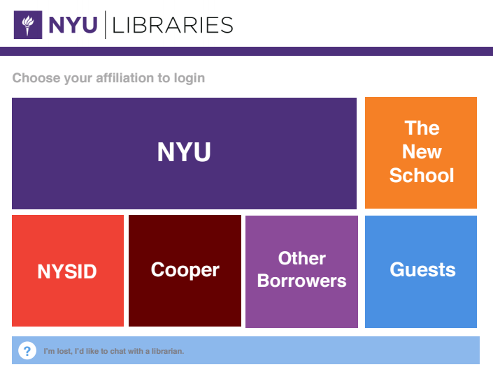 NYU Libraries Login Page Mockup